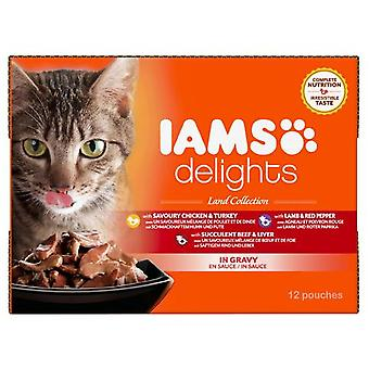 Iams Delights Cat Pouch Land In Gravy 12x85g