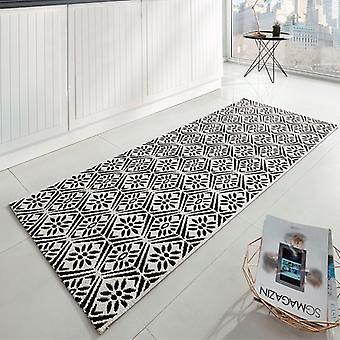 Kitchen runner flat fabric runner creation black cream 80 x 200 cm