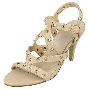 Ladies Spot On High Heel Studded Strap Sandal F10089