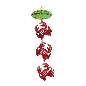 Merry Christmas Ho Ho Ho Three Red Crabs Coastal Holiday Ornament Cape Shore