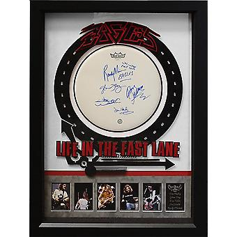 Eagles Life in The Fast Lane Signed Drumhead - Wood Framed Case