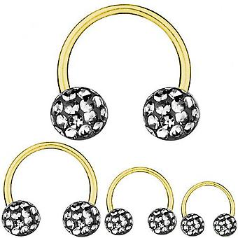Cirkulär Barbell hästsko guld pläterad Titan 1,2, Multi Crystal Black Diamond | 6-12 mm