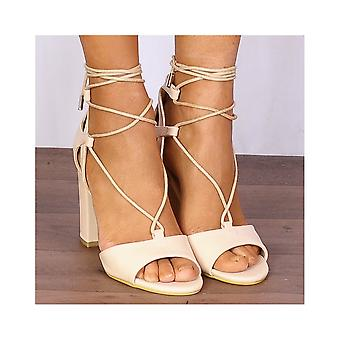 Shoe Closet Nude Wrap Around High Heels - Ladies DB74 Nude Faux Leather Wrap Round Strappy Sandals High Heels