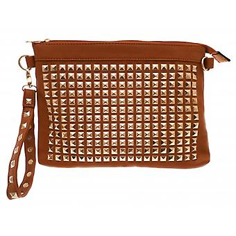 W.A.T Tan Faux Leather Gold Stud Clutch Bag