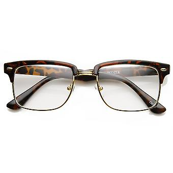 Modified Classic Square Half Frame Clear Lens Horn Rimmed Sunglasses