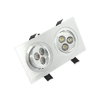 I LumoS High Quality Epistar 6 Watts Silver Rectangle Aluminium Pure White LED Tiltable Recessed Spot Down light