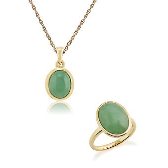 Gemondo 9ct Yellow Gold Jade Bezel Set Oval 45cm Necklace & Ring Set