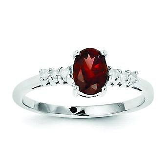 Sterling Silver Polished Open back Rhodium-plated Rhodium Garnet and Diamond Ring - Ring Size: 6 to 8