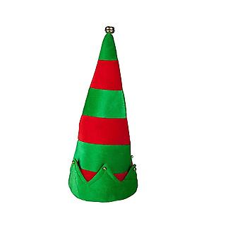 Adults Unisex Christmas Red & Green Elf Hat With Bells Fancy Dress Accessory