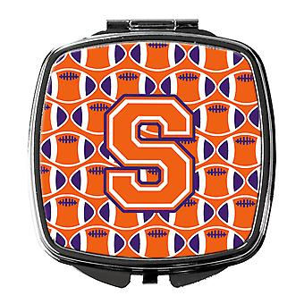 Lettre S de Football Orange, blanc et miroir Compact Regalia