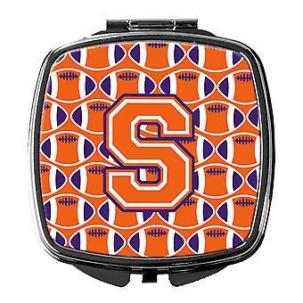 Letter S Football Orange, White and Regalia Compact Mirror