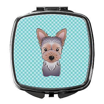 Carolines Treasures  BB1170SCM Checkerboard Blue Yorkie Puppy Compact Mirror