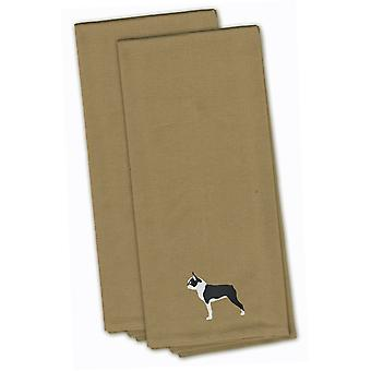 Boston Terrier Tan Embroidered Kitchen Towel Set of 2