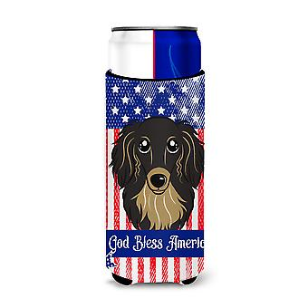 Longhair Black and Tan Dachshund Michelob Ultra beverage Insulator for slim cans