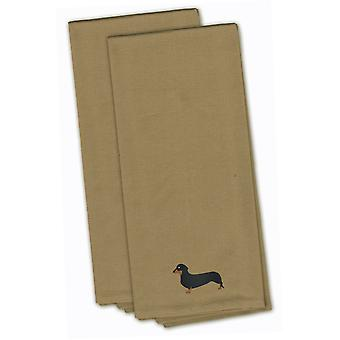 Dachshund Tan Embroidered Kitchen Towel Set of 2