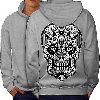 Eye Skull Head Men GreyHoodie Back | Wellcoda
