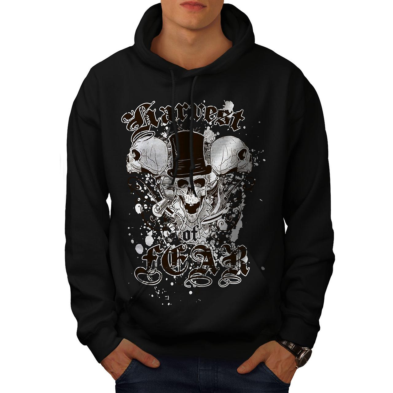 Harvest Fear Death Skull Men Black Hoodie | Wellcoda