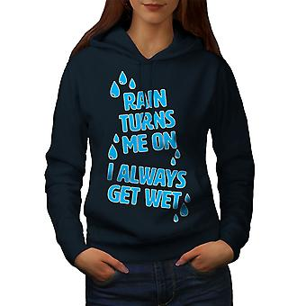Rain Wet Dirty Joke Funny Women NavyHoodie | Wellcoda