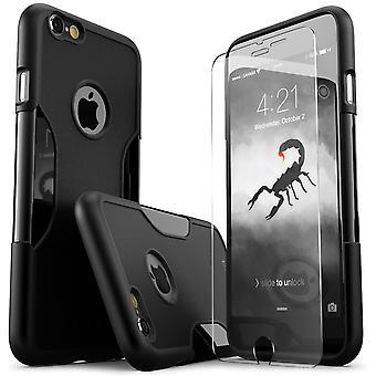 SaharaCase® iPhone 6/6s más caso de escorpión negro, clásico paquete Kit de protección con vidrio templado de ZeroDamage®
