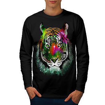 Beast Animal Tiger Men BlackLong Sleeve T-shirt | Wellcoda