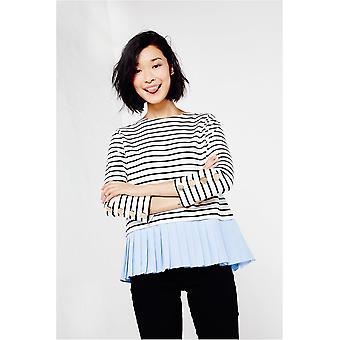 English Factory Striped Top With Pleated Peplum