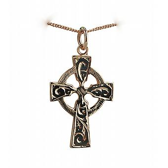 9ct Rose Gold 28x20mm hand engraved Celtic Cross with a curb Chain 16 inches Only Suitable for Children