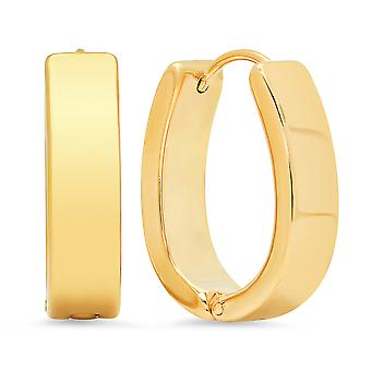 Ladies 18K Gold Plated Stainless Steel Classic Oval Hoop Earrings
