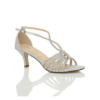 Ajvani womens mid heel strappy diamante glitter bridal wedding evening t-bar sandals shoes