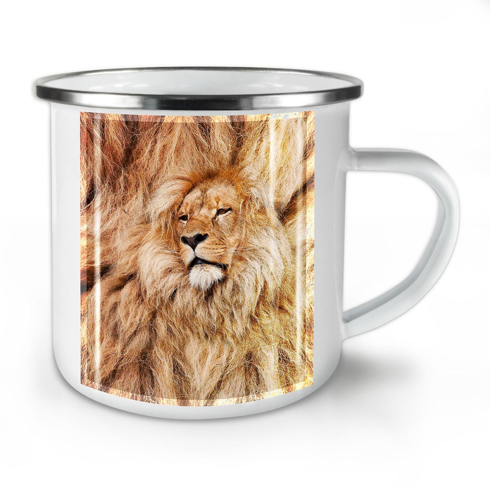 Nouveau Café Whitetea OzWellcoda Émail Mug10 Beast Lion Big Cat P8kOn0w