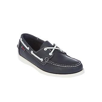 Sebago men's B72639BLUEWHITE white / Blau leather moccasins