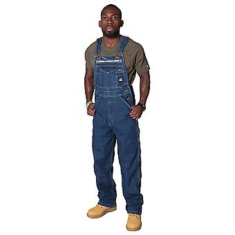 Berne Authentic American Dungarees - Stonewash Mens denim dungaree Bib overall