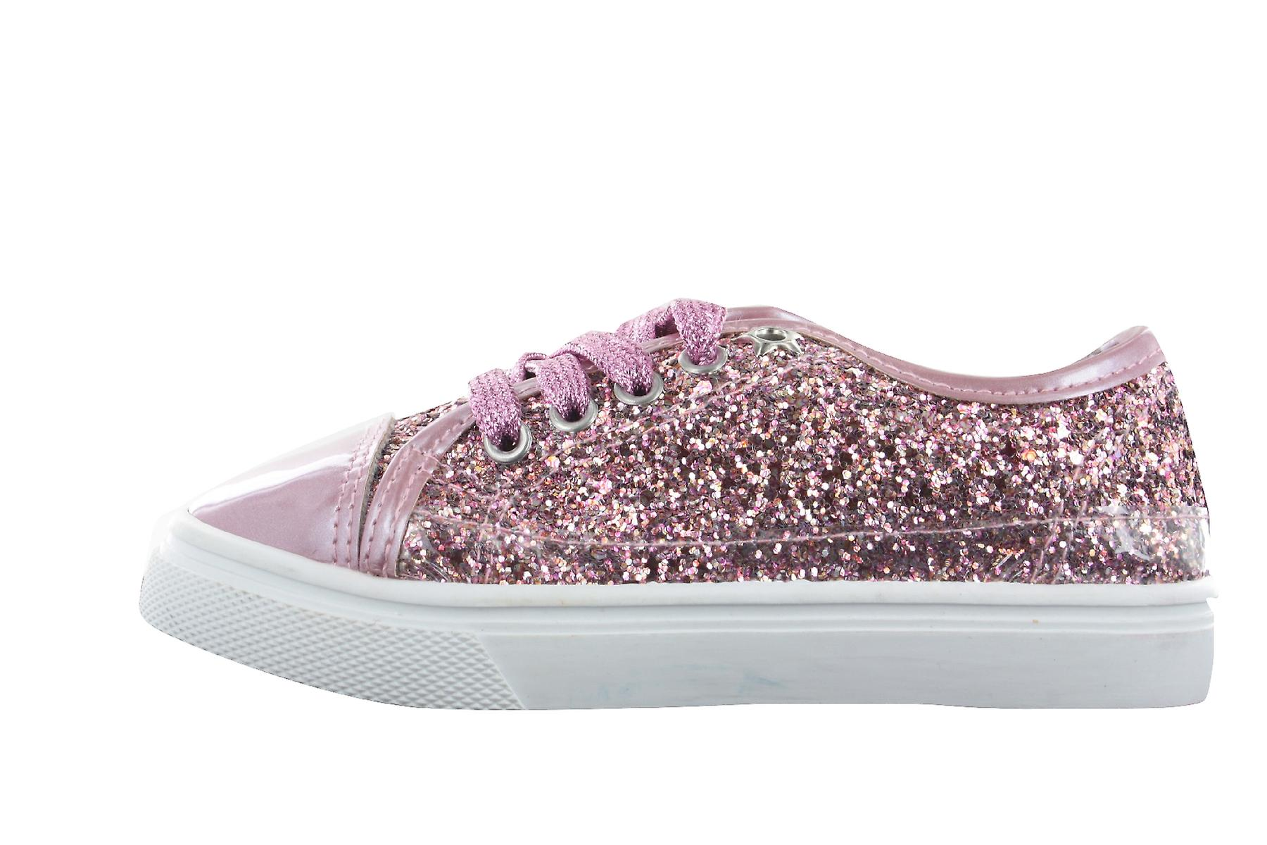Girls Buckle My Shoe Glitter Pink Low Top Fashion Trainer Shoe Various Sizes