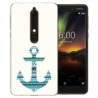 Nokia 6 (2018) Aztec Blue Anchor Gel TPU caso