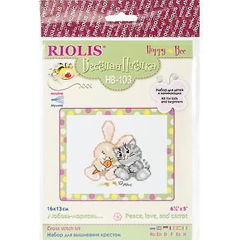 Peace, Love And Carrot Counted Cross Stitch Kit-6.25