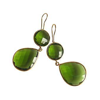 Gemshine-Women '-øredobber-925 sølv-gullbelagt-peridot-grønn-CANDY