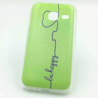Cell phone case voor Samsung Galaxy J1 mini worden gelukkig groene zakje geval + 1 x tank bescherming glas