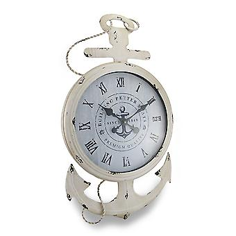 Weathered White Finish Nautical Anchor Large Metal Wall Clock