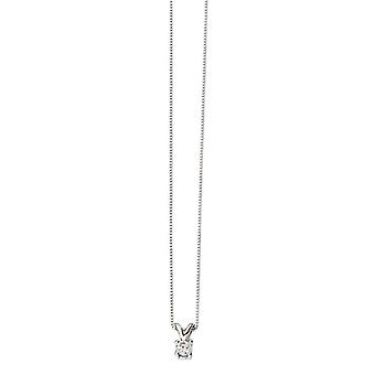 Elements Gold 0.15CT Solitaire Necklace - White Gold/Clear