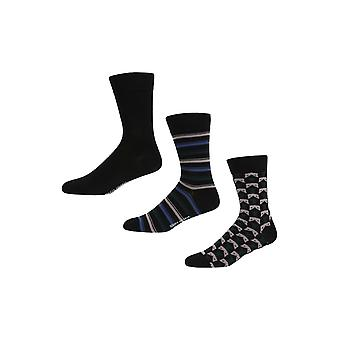 Ben Sherman Men's 3 Pack Everyday Calf Socks Black Green Grey Stripe Prince