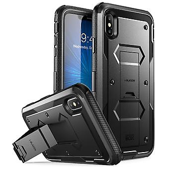 iPhone Xs Max Case, [Armorbox] [Built in Screen Protector] [Heavy Duty Protection] [Kickstand] Case (2018) (Black)