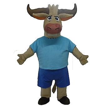 mascot SPOTSOUND Buffalo, Bull Brown, dressed in blue