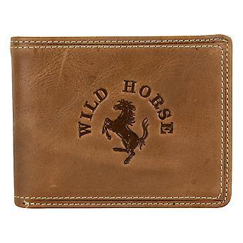 Caballo salvaje para hombre cuero cartera billetera monedero marrón 11007W