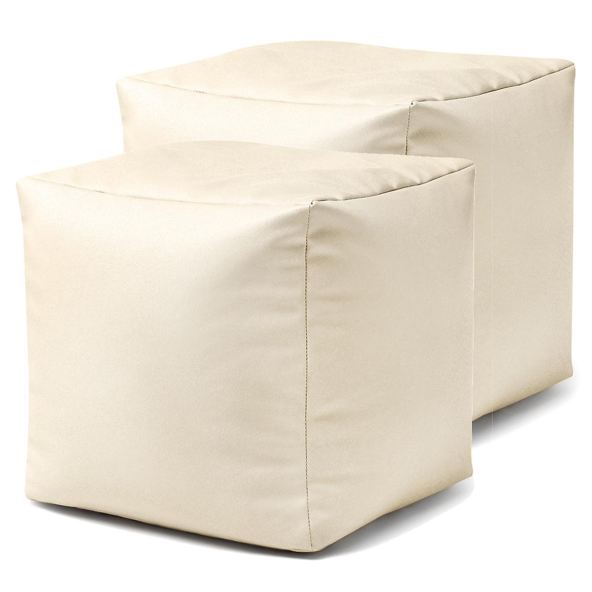 Bean Bag Bazaar® Faux Leather Cube - Cream, 38cm x 38cm - Bean Bag Footstool Pouffe