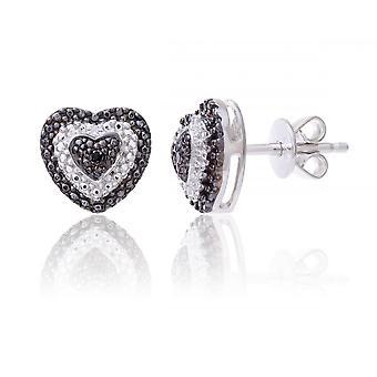 Stjärniga bröllop ringar Sterling Silver hjärta örhänge Set med svarta och vita diamanter