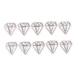 TRIXES 10PC Diamond Gem Shaped Paper Clips – Bookmark Stationery – Mini Metal Rose Gold Office Home and School