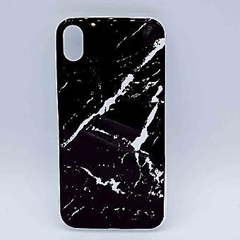 Für IPhone XR-Tasche-Schwarz Marmor