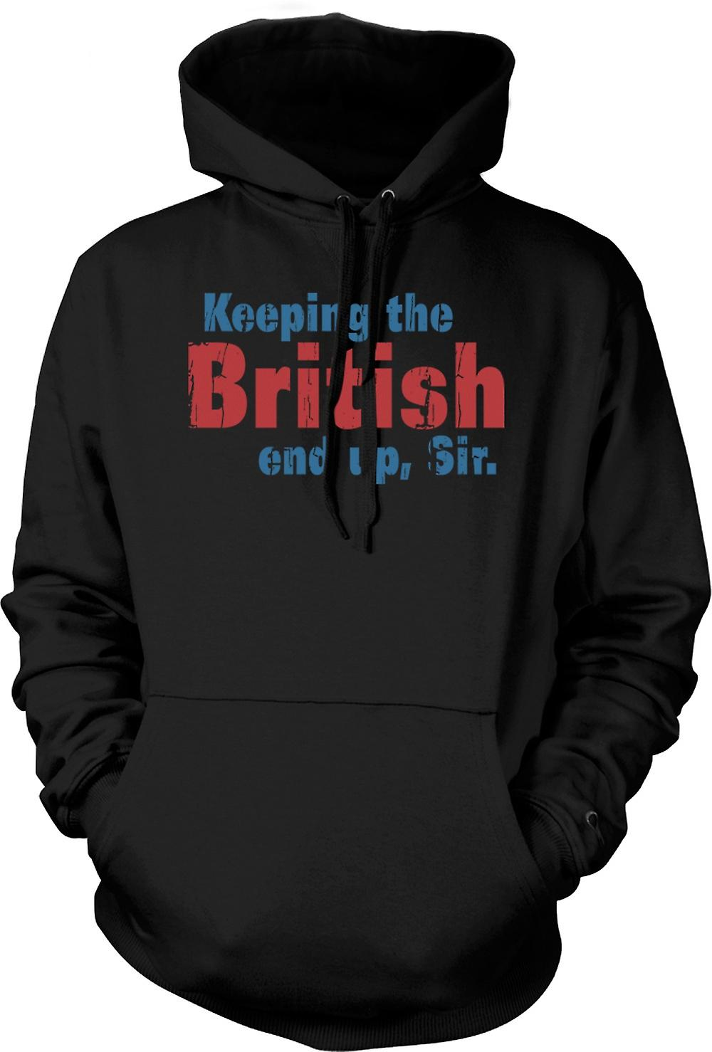 Mens Hoodie - Keeping The British End Up, Sir - Funny Quote
