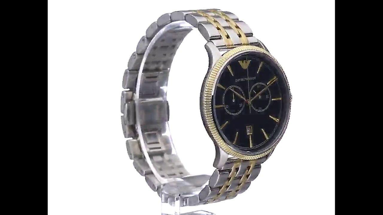 604ab7e6489 Armani watches ar1847 blue   two tone stainless steel chronograph mens watch