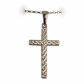 9ct Gold 38x23mm knot embossed Celtic Cross with bail on a belcher Chain 16 inches Only Suitable for Children