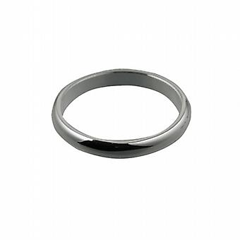 Platinum 3mm plain D shaped Wedding Ring Size Z
